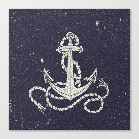 Navy Blue Nautical White Anchor for Sailor Texture Canvas Print