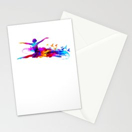 Colorful ballet dancer with flying birds Stationery Cards