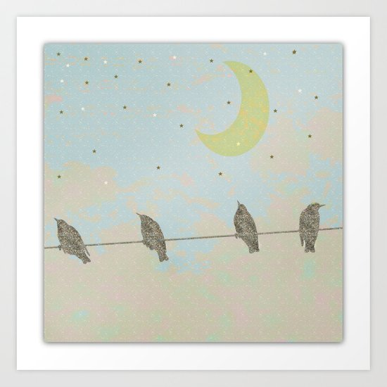 Goodnight Moon Birds on a line Art Print