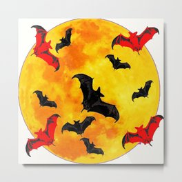 DECORATIVE FULL MOON  FLYING BLACK BATS HALLOWEEN Metal Print