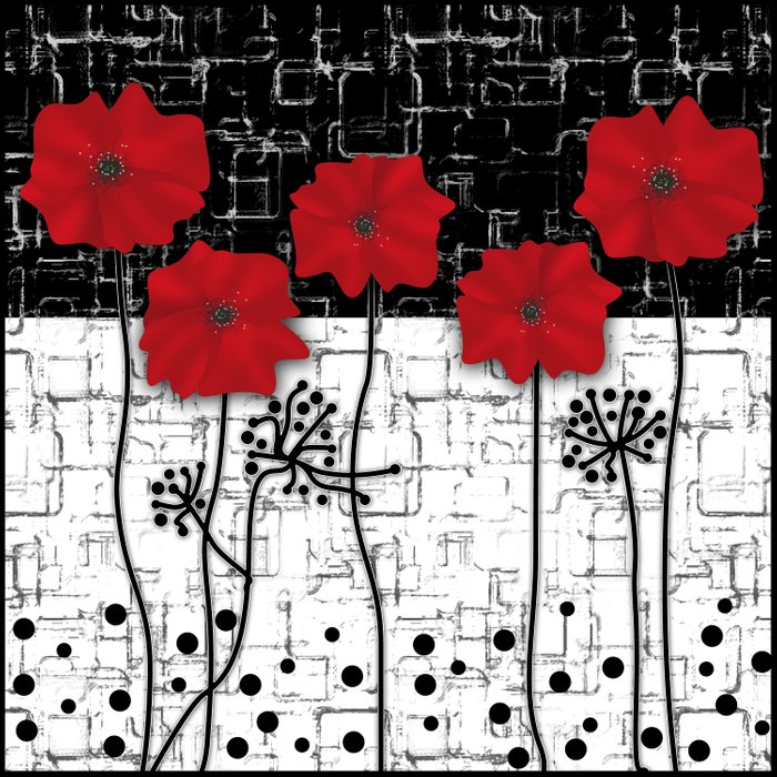 Applique Poppies on black and white background . Duvet Cover