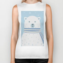Polar White Bear with Scarf Biker Tank