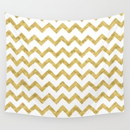 Chevron Gold And White Wall Tapestry