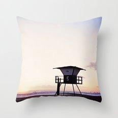 Vintage Lifeguard Tower Silhouette at Sunset, Sunset Beach, California Throw Pillow