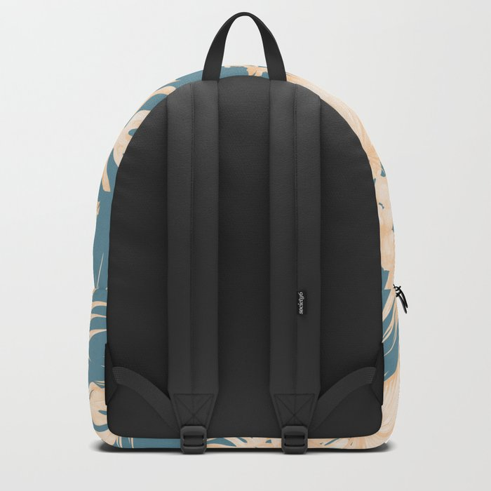 Island Vacation Hibiscus Palm Coral Teal Blue Backpack