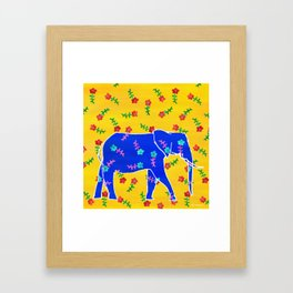 Elephant - blue Framed Art Print