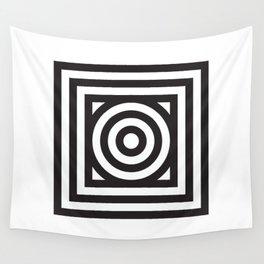Stripes Circle Square Black White Wall Tapestry
