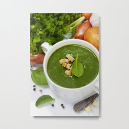 Traditional Spinach cream soup with croutons and fresh spinach leaf on top Metal Print