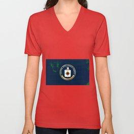 CIA Flag Grunge Unisex V-Neck