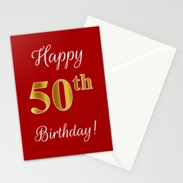"""Elegant """"Happy 50th Birthday!"""" With Faux/Imitation Gold-Inspired Color Pattern Number (on Red) Stationery Cards"""