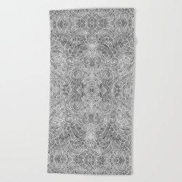 Grey and white swirls doodles Beach Towel