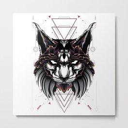 Lynx Cat sacred geometry Metal Print