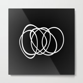 Mid Century Black And White Minimalist Design Metal Print