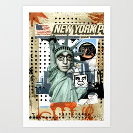 COLLAGE: Woody & NY Art Print