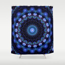 Cerulean Night Jewel Mandala Shower Curtain