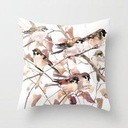Birds on Fall Tree, Brown Sahara colors birds, sparrow, sparrow birds Throw Pillow