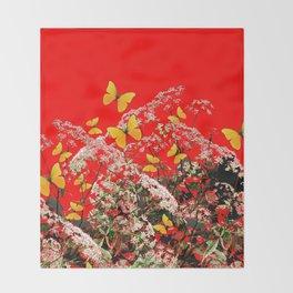 RED GARDEN ART OF YELLOW BUTTERFLIES & LACEY FLOWERS Throw Blanket