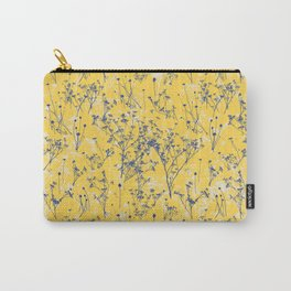 Elegant Blue Wildflowers on Mustard Yellow Pattern Carry-All Pouch