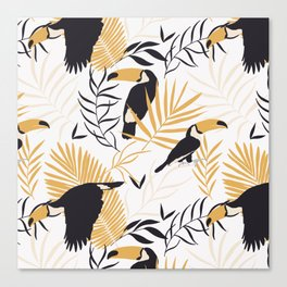 Toucan Leave Tropical Pattern Canvas Print
