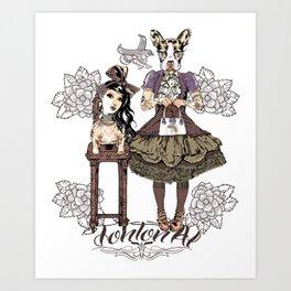 Kawaii and dog Tonton AL Art Print