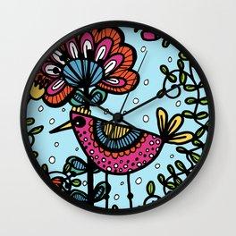 Weird and wonderful (Bird) - fun, bright flower and bird artwork Wall Clock