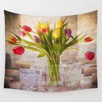 tulips Wall Tapestries featuring Tulips by Fine Art by Rina