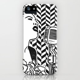 Lady Day (Billie Holiday block print blk) iPhone Case