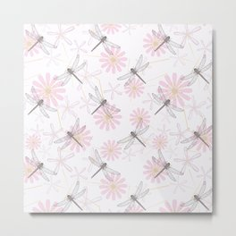 Floral pattern with dragonflies on a white background. Metal Print