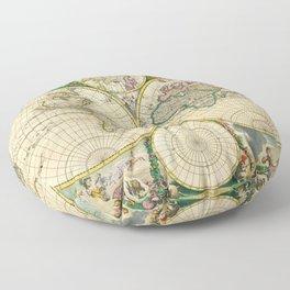 "Frederik de Wit ""Worldmap"" title Nova Orbis Tabula, In Lucem Edita (1670) Floor Pillow"