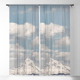 Mount Hood II - Snow Capped Mountain Adventure Nature Photography Sheer Curtain