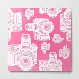 Cute Pink Camera Pattern Metal Print