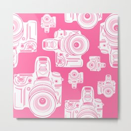 Cute Pink Camera Pattern Metal Print