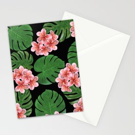 Tropical Floral Print Black Stationery Cards