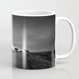 Down the Road - Colorful Rainbow Under Storm Clouds Down Dirt Road in Kansas Coffee Mug