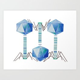 Bacteriophage 2, Science art, science, virus, microbiology, virology, geekery, science illustration Art Print