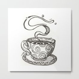 She drinks whisky in a tea cup Metal Print
