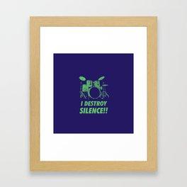 I Destroy Silence Funny Drums Vintage Drummer Distressed Framed Art Print
