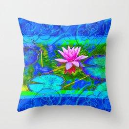 Lotus Blossom Blues Throw Pillow