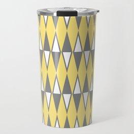 Mid Century Modern Diamond Pattern Yellow and Gray 232 Travel Mug