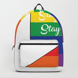 Stay home Stay proud. Gay Rainbow Home Backpack