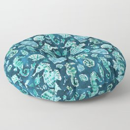 SEA HORSE SOIREE Indigo Coastal Floor Pillow