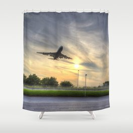 Boeing 747 Sunset Landing Shower Curtain