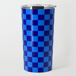 Brandeis Blue and Navy Blue Checkerboard Travel Mug