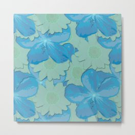 Scuba Blue and Lucite Green Watercolor Floral Metal Print