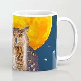 TWO OWLS IN FULL MOONSCAPE NIGHT Coffee Mug