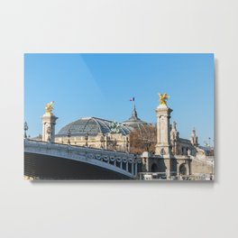 Alexandre III bridge and Grand Palais on a sunny day in Paris Metal Print