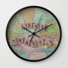 Let's Travel Wall Clock