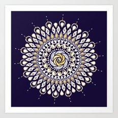 Blue and Gold Lens Mandala Art Print