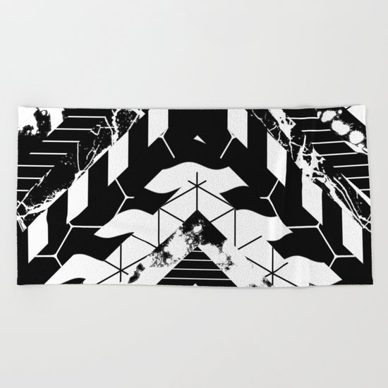 Layered (Black and white, abstract, geometric designs) Beach Towel