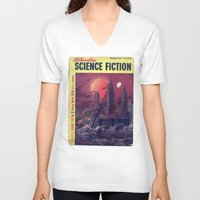 sci fi V-neck T-shirts featuring Retro 1951 Sci-Fi by InvaderDig